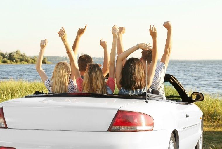 automobil, ljeto, more, prijatelji